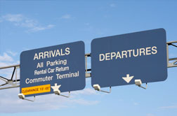 A photo of Airport signs
